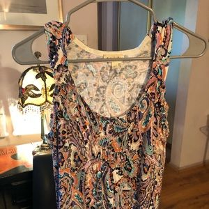 Anthropologie Meadow Rue tank colorful pattern.